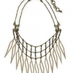 gold tone spike statement necklace