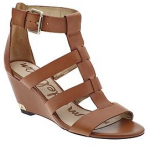 brown sandals with a wedge heel