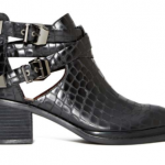 black leather ankle boots booties croc-embossed detailing side cutouts strapped silver buckles