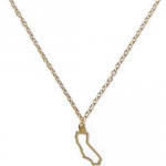 california State Outline Pendant Necklace gold