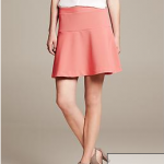 coral fit and flare skirt