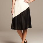 Black and white pleat pleated midi skirt