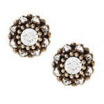 black and white round stud earrings with glass stones and brass plated