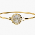 gold tone plated michael kors logo bangle bracelet