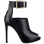 GUESS Black Leather GUESS Shilvy Peep-Toe Booties