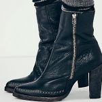 Free People black leather Baroness Heel Ankle Boot