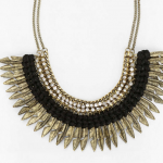 Urban Outfitters Gold Feather Rhinestone Necklace