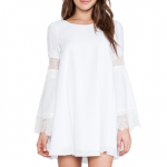 For love and lemons white belled sleeved dress lace trimmed long sleeve arms
