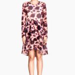 H&M long sleeve Patterned Ruffled Dress soft pink