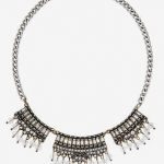 Express SHORT BAGUETTE AND DANGLING BEAD silver NECKLACE