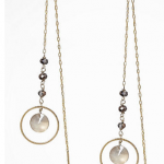 express shiny gold FLOATING CIRCLE STONE PULL THROUGH EARRINGS