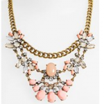 nordstrom bp coral multi Faceted blue crystals and bold, goldtone chains form an eye-catching statement necklace