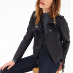 forever 21 black Belted Faux Leather Moto Jacket
