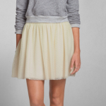 abercrombie and fitch tulle cream ELAINE SKATER SKIRT
