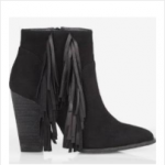 EXPRESS BLACK SUEDE FRINGED RUNWAY BOOTIE