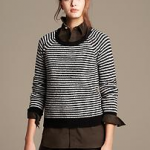 banana republic black white Textured Stripe Merino Wool Pullover