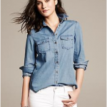 banana republic go-to denim shirt medium denim