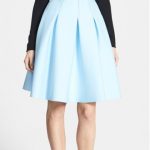 Nordstrom 1.State Pleated Jersey A-line Skirt Blue Basalt