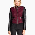 h&m burgundy and leather Jacquard-weave Biker Jacket