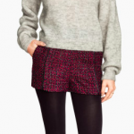 h&m burgundy and leather Jacquard-weave Shorts