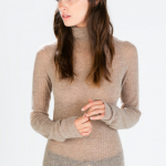 zara mink ribbed turtleneck sweater