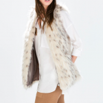 zara long fur vest ecru white grey