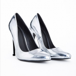 MIssGuided US ISABEL POINTED STILETTO COURT HEELS SILVER METALLIC
