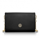Tory Burch Robinson Black Leather Chain Wallet