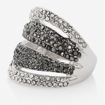 EXPRESS Silver Black Diamond Pave Tonal Stripe Ring