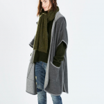 zara grey hooded cape with piping
