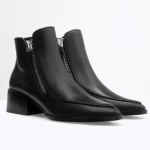 zara black Leather ankle boot with zip