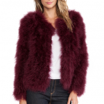 Revolve Clothing the line and dot Burgundy Angelina Feather Fur Jacket