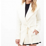 Forver 21 Cream White Ivory Belted Wrap Coat