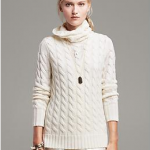 Banana Republic Ivory Cream White Cable-Knit Cowl Pullover