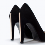 Zara Black Leather Court Shoe