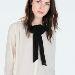 zara shirt with bow collar
