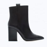Zara Black High-heeled leather cowboy bootie