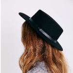 Urban Outfitters Black Flat-Top Boater Hat