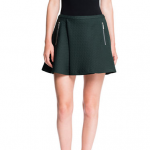 1 STATE Green Quilted Houndstooth Mini Skirt