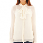JCPenney MNG By Mango® Long-Sleeve Tie-Neck