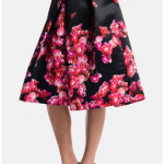 Nordstrom 1State A line Bouquet Pleat Midi Skirt