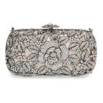 Nordstrom Natasha Couture Beige Silver Rhinestone Crystal Caged Floral Clutch