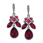 Macys Givenchy Light Hematite-Tone Red Large Drop Earrings