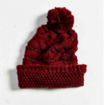 Urban Outfitters Maroon Chunky Cable Knit Sleeper Beanie