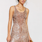 Urban Outfitters Taupe Ecote Beaded Mini Dress