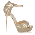 Jimmy Choo Damsel Lame Gold Glitter