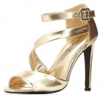 Charlotte Russe Gold CURVED STRAPPY PEEP TOE HEELS