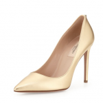 Neiman Marcus Valentino Metallic Leather Pointy Pump, Gold