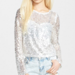 Nordstrom Glamorous Silver Long Sleeve Sequin Tee