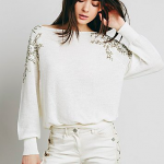 Free People Ivory Sequin Over the Shoulder Open Back Sweater